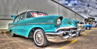 1950s American Chevy. 1950s American made light blue Chevy with white roof on display at car show in Australia Stock Photo