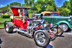 1920s American Ford hot rod. 1920s red American Ford model T hot rod on display at the 2018 Victorian Hot Rod and Cool Rides car show in Melbourne, Australia royalty free stock images