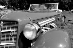 Rare 30s luxury american sports car. 1930s American luxury sportscar on display. 1930s Auburn 851 Speedster. monochromatic in black and white Royalty Free Stock Photos