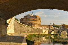 S angelo castle. View of s angel castle and helium bridge seen from the promenade along the tiber under victorio emanuele bridge royalty free stock photos