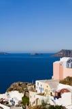 остров s зодчества греческийantorini sea view Стоковое Изображение RF