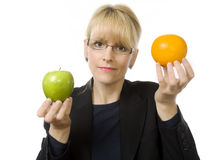 Its apples and oranges! Royalty Free Stock Images