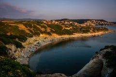 S`Archittu di Santa Caterina beach in Sardinia, Italy. Beach of limestone rock S`Archittu di Santa Caterina, Oristano Province, Sardinia, Italy captured at stock photo