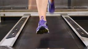 20s attraente I piedi femminili sulla pedana mobile in palestra bastonano Concetto di benessere Pista ambulante Misura dell'incro video d archivio