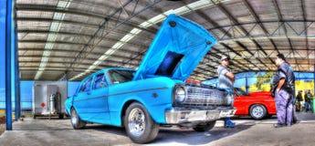 1970s Australian built Ford. 1970s Australian built blue Ford Falcon on display at car show held at Calder Park racetrack in Melbourne, Australia stock images