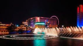 Sławna fontanna na Las Vegas pasku Zdjęcie Royalty Free