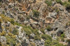 Sławni Lycian grobowowie antyczny Caunos miasto, Dalyan, Turcja Zdjęcia Stock