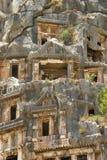 Sławni Lycian grobowowie antyczny Caunos miasto, Dalyan, Turcja Obrazy Royalty Free