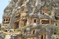 Sławni Lycian grobowowie antyczny Caunos miasto, Dalyan, Turcja Fotografia Royalty Free