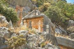 Sławni Lycian grobowowie antyczny Caunos miasto, Dalyan, Turcja Fotografia Stock