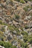 Sławni Lycian grobowowie antyczny Caunos miasto, Dalyan, Turcja Obraz Royalty Free