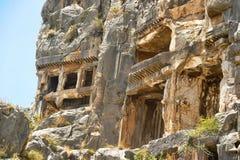Sławni Lycian grobowowie antyczny Caunos miasto, Dalyan, Turcja Zdjęcie Stock