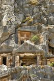 Sławni Lycian grobowowie antyczny Caunos miasto, Dalyan, Turcja Obrazy Stock
