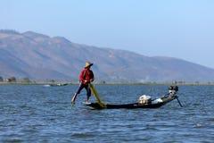 Sławni nóg rowers od Inle jeziora w Myanmar Fotografia Royalty Free