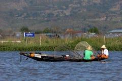Sławni nóg rowers od Inle jeziora w Myanmar Zdjęcie Royalty Free