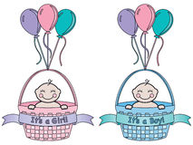 It's a Baby Announcement. It's a newborn baby boy and it's a newborn baby girl. Each in a basket with banner and it's a boy or it's a girl text and balloons Royalty Free Stock Image