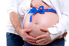 It's a baby boy. Couple waiting for a baby boy Stock Photos