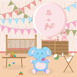 It's a Baby girl shower card Stock Photography
