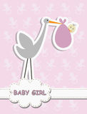 Its a Baby Girl, stork with a baby Royalty Free Stock Photo