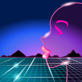 80s background with woman's face royalty free illustration