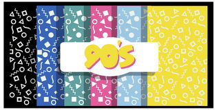 90s  backgrounds or banners. 1990`s  six colorful backgrounds  with 90 number Stock Photo