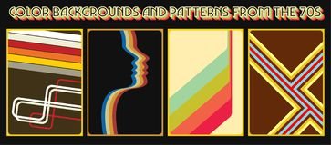 1970s Backgrounds and Covers Set. Vector Set of Vintage Backgrounds, Patterns, Covers, Wallpapers from the 1970s vector illustration