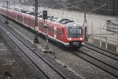 S-Bahn Gernlinden in the rain and storm Stock Photography