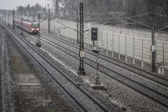 S-Bahn Gernlinden in the rain and storm Stock Image