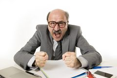 60s bald senior office boss man furious and angry gesturing upset and mad sitting on desk with paperwork in business and job prob. Lems and stress concept royalty free stock photography