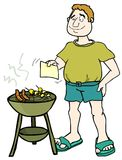 It's BBQ time!. Man cooking hotdogs and shislik on a barbeque vector illustration