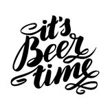 It`s beer time. Traditional German Oktoberfest bier festival. Vector hand-drawn brush lettering illustration isolated on. White Royalty Free Stock Photos