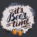It s beer time. Traditional German Oktoberfest bier festival. Vector hand-drawn brush lettering illustration isolated on. White Royalty Free Stock Image