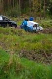 S. Benskin fora da estrada em Ford Escort Imagem de Stock Royalty Free