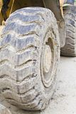 That's Big. Large tire of a constuction bulldozer covered in mud and dirt royalty free stock photo