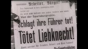 1910s Black And White. Newspaper Article. World War One. Black And White. A newspaper article in Germany. The article say thath the communist Karl Liebknecht stock video footage