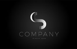S black white silver letter logo design icon alphabet 3d Royalty Free Stock Photo