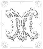 Black on white vector illustration of capital letter M Stock Images
