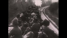 1910s Black And White. World War One. Russian. World War One. Black And White. Russian soldiers are transported by train stock footage