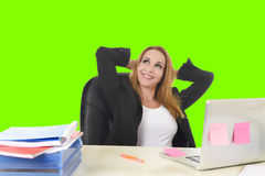 40s blond business woman working at office laptop computer relaxed green chroma key Royalty Free Stock Photography