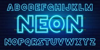 80 s blue neon retro font. Futuristic chrome letters. Bright Alphabet on dark background. Light Symbols Sign for night. 80 s blue neon retro font. Futuristic vector illustration