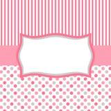 Às bolinhas e cartão cor-de-rosa do convite das listras Imagens de Stock Royalty Free