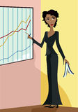 She's the Boss. Woman Executive making a presentation in front of an upward trend diagram - holding a book and marker Stock Illustration