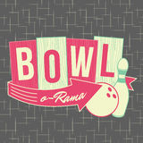 1950s Bowling Style Logo Design. All fonts shown are for visual purposes only and freely availalble for open license use from sources such as google fonts vector illustration