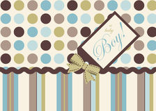It's a Boy!. Seamless dots and stripe coordinate pattern with trims and tag Stock Photos