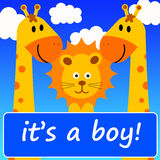 It's a boy. Cartoon characters celebrating the birth of a baby boy Stock Photo