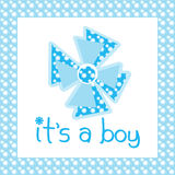 It's a boy. Card coloured in blue Royalty Free Stock Images