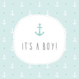 It's a boy. Anchor greeting card template. Anchor greeting card template. Vector EPS 10 hand drrawn illustration Royalty Free Stock Photos