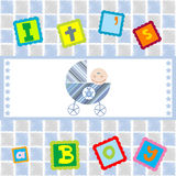 It's a boy announcement with baby boy. It is a boy announcement with baby boy on tiles background royalty free illustration