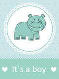 It`s a boy baby arrival card. With little baby hippo stock illustration