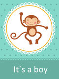 It`s a boy baby arrival card. With little baby monkey stock illustration